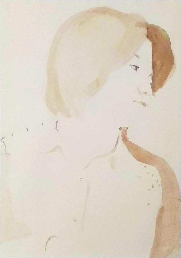(若い頃の写真を見て描いた)自画像